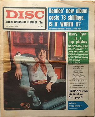 jimi hendrix newpaper 1968 / disc music echo november 9 1968