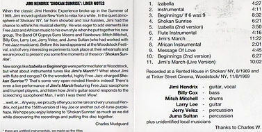 jimi hendrix bootlegs cd albums/shokan sunrise