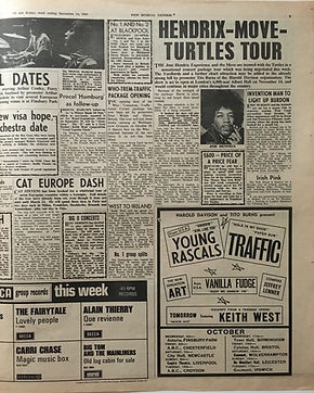 jimi hendrix collector newspapers/new musical express 16/9/67/hendrix move turtles tour/