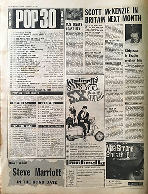 jimi hendrix collector newspapers/melody maker 23/9/67 pop 30/burning of the midnight lamp N°19/top LPs are you experienced N°10