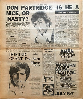 jimi hendrix newspaper/new musical express july 6 1968 ad: woburn music festival 6&7 july 1968