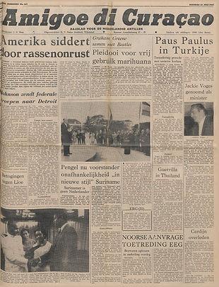 jimi hendrix newsapers 1967/amigoe di curaçao july 25, 1967