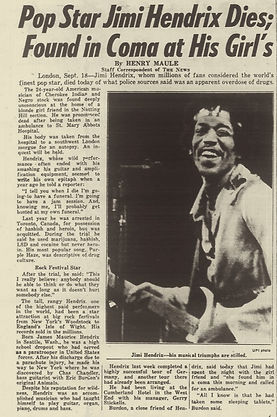 jimi hendrix newspaper 1970 / daily news : september 19,1970