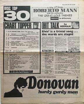 jimi hendrix newspaper/disc & music echo may 25 1968 top ten lps N°7 smash hits