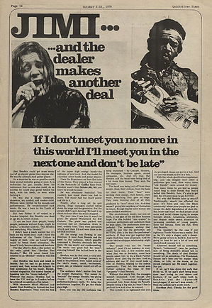 jimi hendrix newspapers 1970 / quicksilver times  october 5 - 15 1970