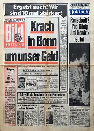 jimi hendrix newspapers 1970 / bild zeitung sept. 19, 1970