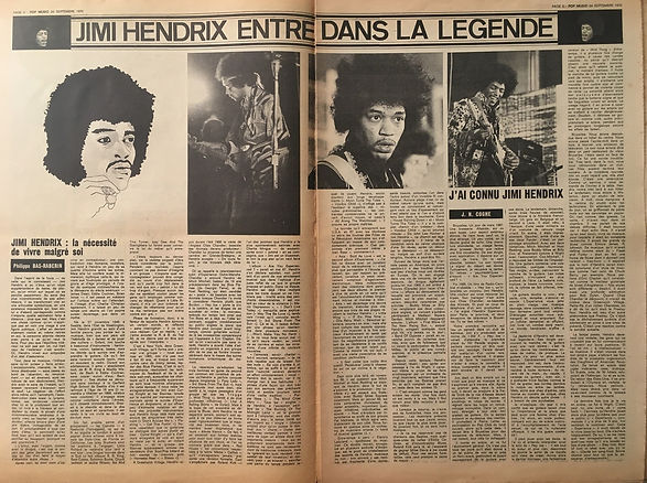 jimi hendrix newspapers 1970 / pop music :  September 24,1970