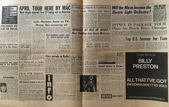 jimi hendrix newspaper 1970 / new musical express jan. 31 1970