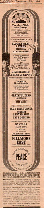 jimi hendrix newspapers 1969/village voice dec. 25, 1969 : ad concerts band of gypsys