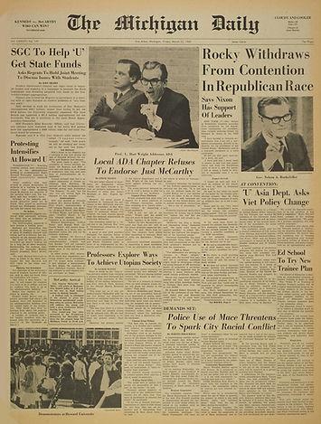 jimi hendrix newpapers 1968/the michigan daily march 2, 1968