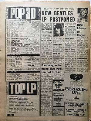 jimi hendrix newspaper 1968/ melody maker november 9 1968 top 30