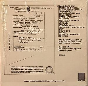 jimi hendrix collector vinyls lp album bootlegs/primal keys impossible recordworks 1981 usa