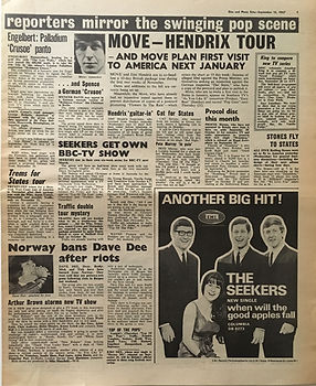 jimi hendrix collector newspapers/hendrix tour/guitar in/disc music echo 16/9/1967