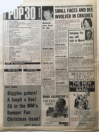 jimi hendrix newspaper/mammoth party drews the fans/22/12/1967
