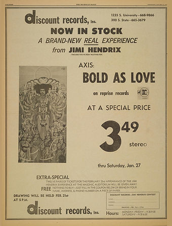 jimi hendrix newspapers 1968/the michigan daily :AD concert january 24 1968