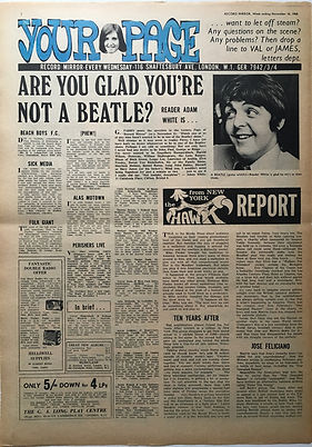 jimi hendrix newspaper 1968/record mirror november 16 1968