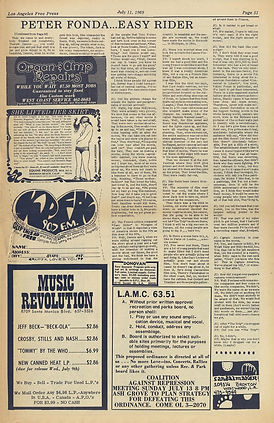 jimi hendrix newspaper 1969/ los angeles free press july 11 1969