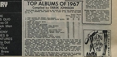 jimi hendrix newspaper/top albums of 1967 new musical express 6/1/67
