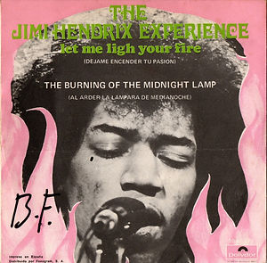 jimi hendrix collector vinyls singles 45r/record sleeve spanish/ let me light your fire 1969