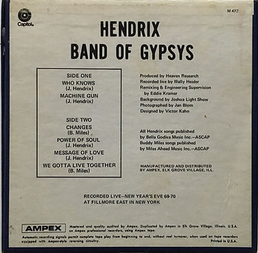 jimi hendrix reel to reel collector/band of gypsys ampex