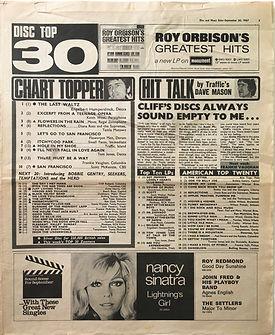 jimi hendrix collector newspapers/disc music echo 30/9/67 top30