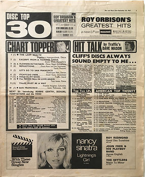 jimi hendrix collector newspapers/disc music echo 30/9/67 top30