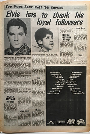 jimi hendrx newspaper 1968/top pops star poll'68