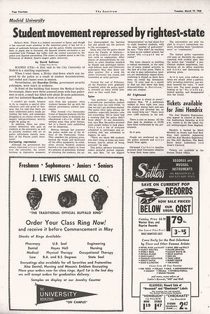 jimi hendrix newspapers 1968/the spectrum march 19, 1968