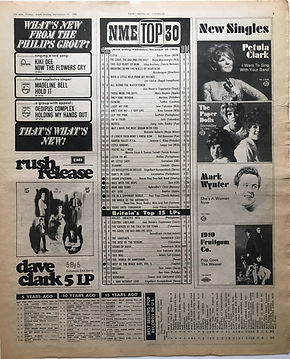 jimi hendrix newspaper 1968/new musical express  top 30