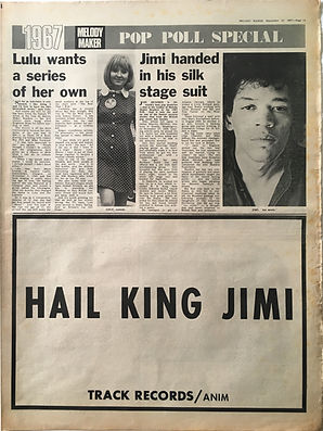 jimi hendrix collector newspapers/melody maker 23/9/67 hail king jimi