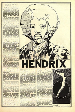 jimi hendrix newspapers 1970 / tribe berkeley :  September 25,1970