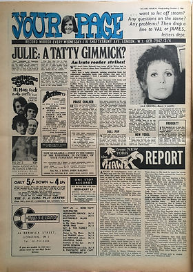 jimi hendrix newspaper/record mirror october 5 1968/from new york report