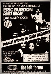 jimi hendrix memorabilia 1970/ad : war concert september 24, 1970 70