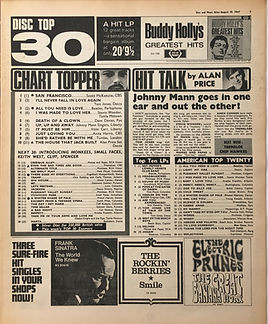 jimi hendrix collector newspaper/disc music echo  19/8/1967  top 10 lps (are you experienced N°5)