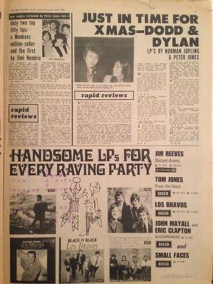 jimi hendrix newspaper/record mirror 24/12/66