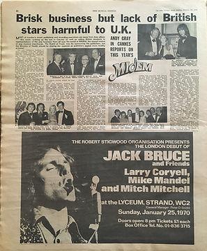 jimi hendrix newspaper 1970 / new musical express jan. 24 1970