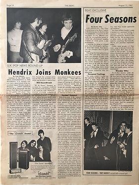 hendrix joins monkees /newspapers collector jimi hendrix/beat 12/8/1967