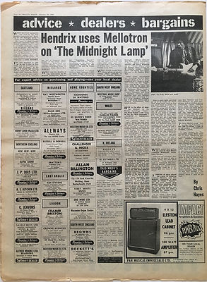 """hendix uses mellotron on """"the midnight lamp""""jimi hendrix collector newspaper/melody maker 10/2/68"""