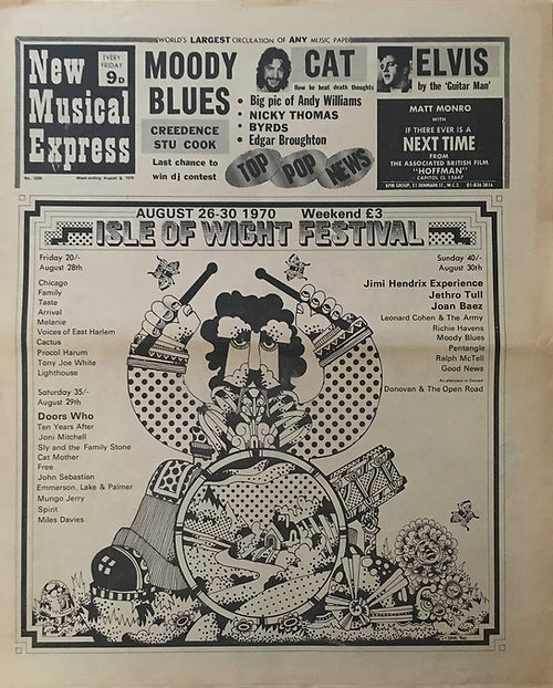 jimi hendrix newspaper 1970 / new musical express / august 8, 1970 / ad : isle of wight festival