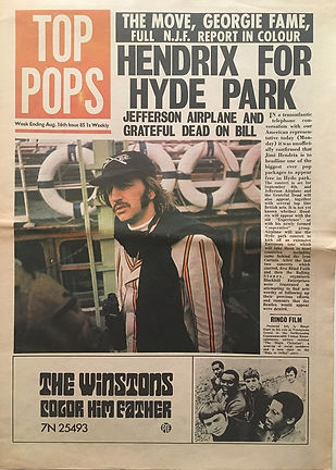 jimi hendix newspaper 1969/top pops/ august 16 1969/ hendrix for hyde park
