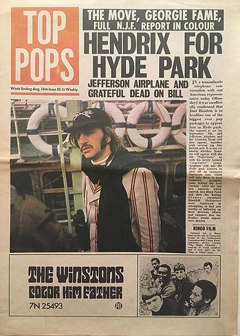 jimi hendix newspaper 1969/top pops/ august 16 1969/ hendrix for hyde park