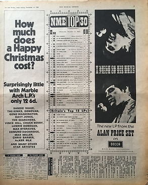 jimi henrix newspaper/britain's top 15 lps/axis bold as love N°8 first time