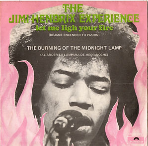 jimi hendrix collector singles vinyls 45r/let me light your fire/the burning of the midnight lamp/spanish polydor 1969