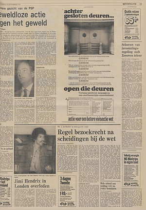 jimi hendrix newspapers 1970 / trouw September 19,  1970
