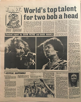 jimi hendrix newspaper 1970 /disc music echo  september 5, 1970 /  isle of wight festival