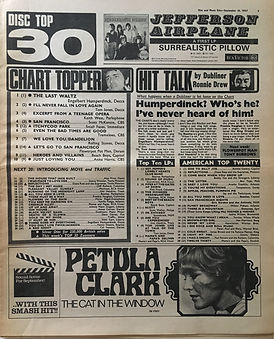 jimi hendrix collector newspapers/disc music echo 16/9/67  top 30/top ten LPs