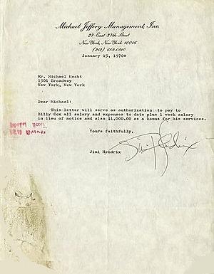 jimi hendrix memorabilia 1970/ letter