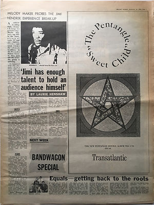 jimi hendrix newspaper 1968 / melody maker 16/11/68