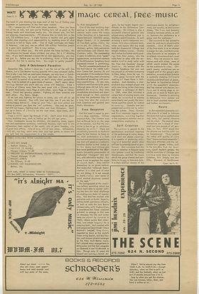 jimi hendix newspapers 1968/kaleidoscope feb 16, 1968