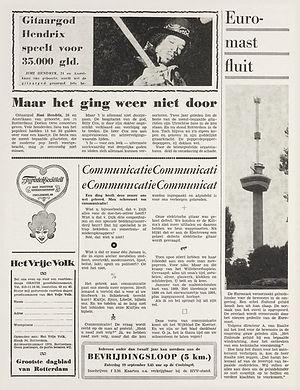 jimi hendrix newspapers 1970 / het vrije volk september 15, 1970